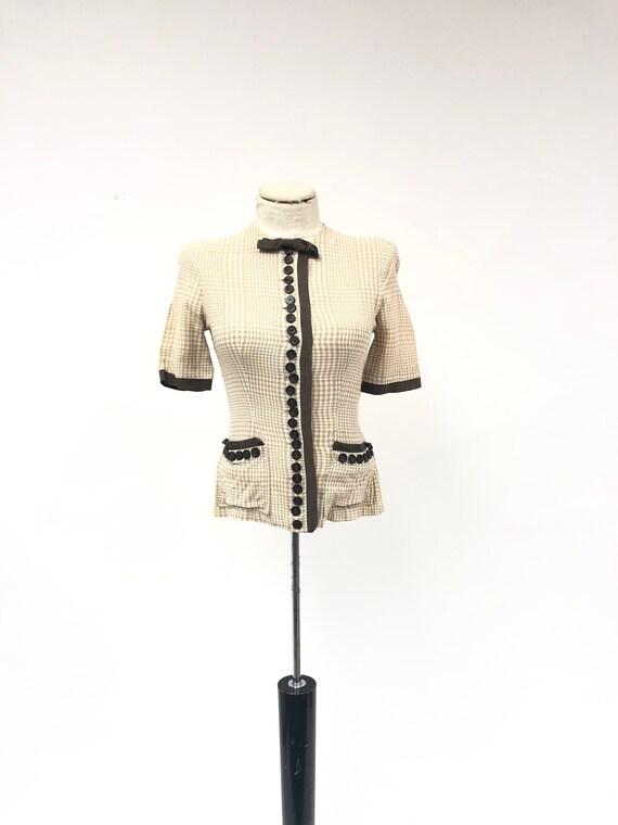 Vintage 1940's Silk Button Front Blouse