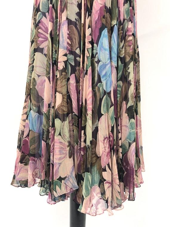 Vintage 1950's Floral Silk Chiffon Dress - image 4
