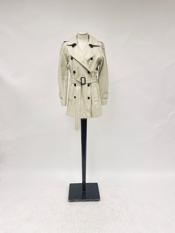 Vintage 1970's White Leather Trench Coat - image 1