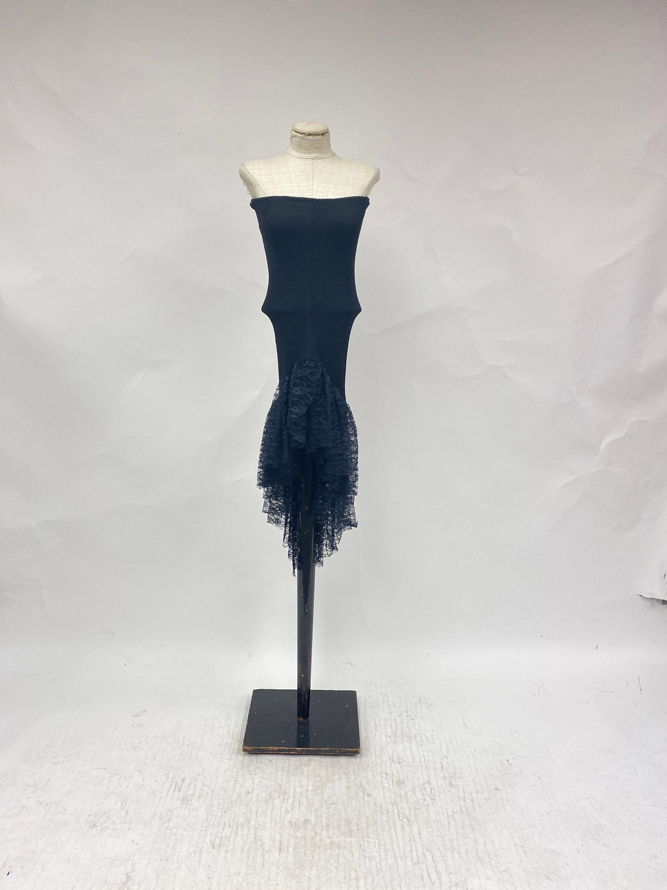 80s Dresses   Casual to Party Dresses Vintage 1980s Strapless Dress With Tiered Lace Hem $0.00 AT vintagedancer.com