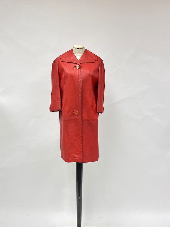 Vintage 1980's Red Leather Coat