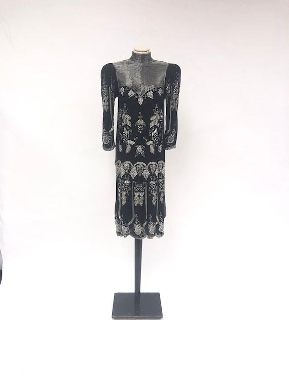 Vintage 1980's Beaded Silk Dress