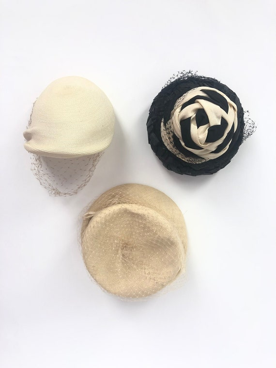 Set of 3 Vintage 1960's Straw & Mesh Hats