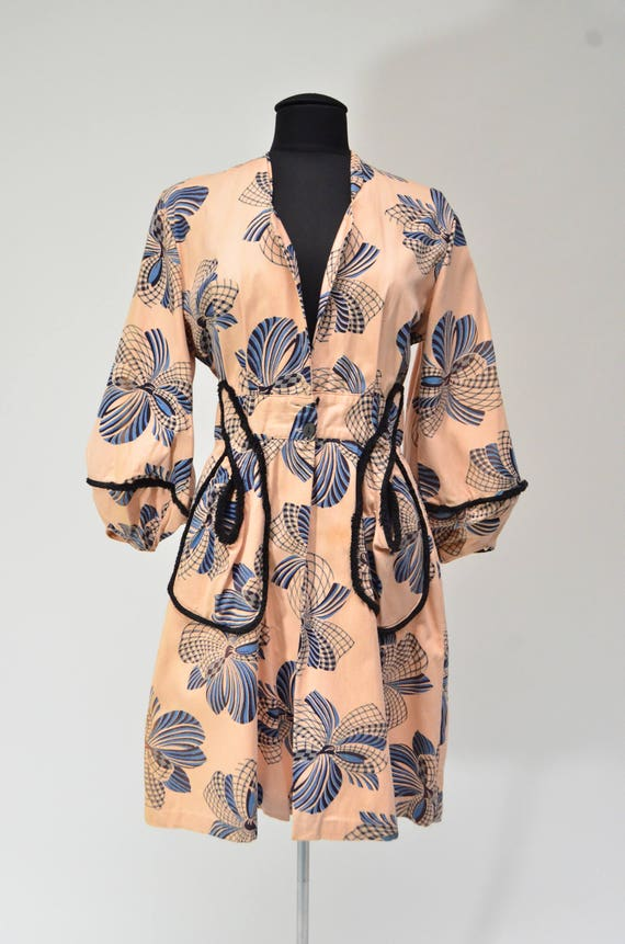 1940's Abstract Bow Print Housecoat