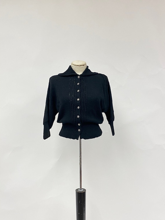 Vintage 1940's/50's Wool Sweater with Glass Button