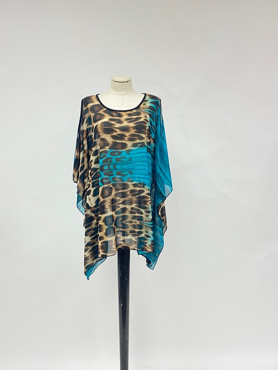 Vintage Sheer Leopard Print Cape Top