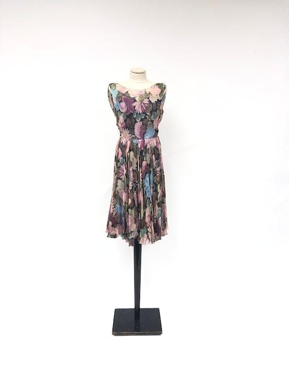 Vintage 1950's Floral Silk Chiffon Dress