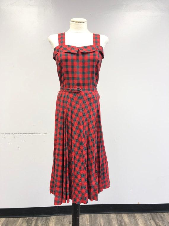 Vintage 1940's Tartan Plaid Dress - image 2