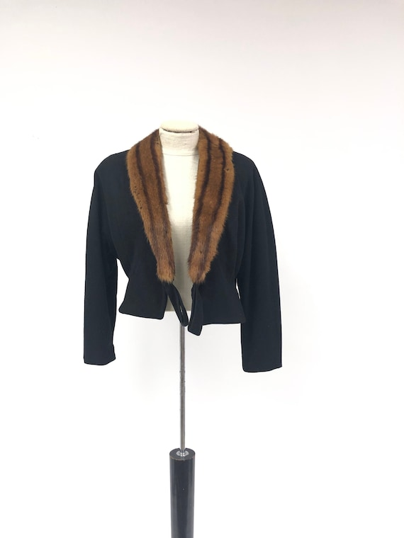 Vintage 1960's Short Coat with Fur Collar