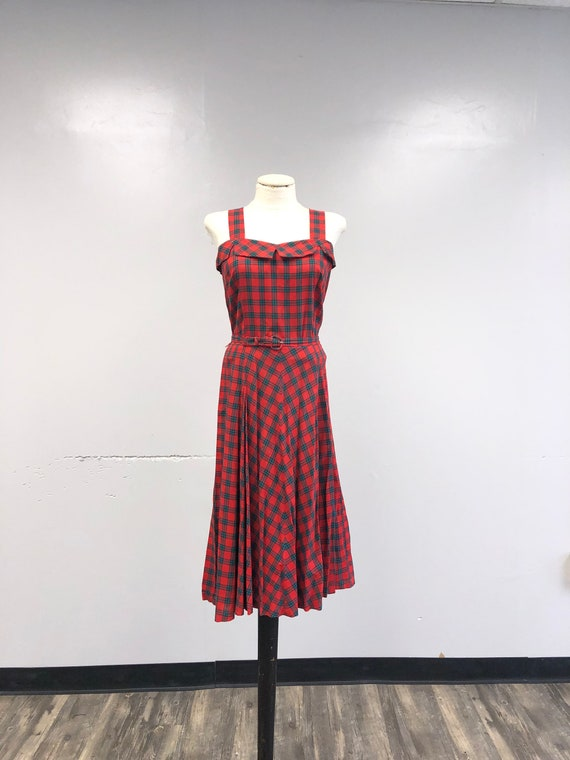 Vintage 1940's Tartan Plaid Dress
