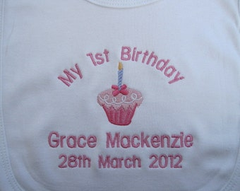 Gift Bells /& Hearts Wedding Embroidered for Baby Personalised Baby Bib