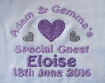 Personalised Baby Bib - Embroidered - Wedding - Hearts - Gift/Favour - Your Wedding Colours