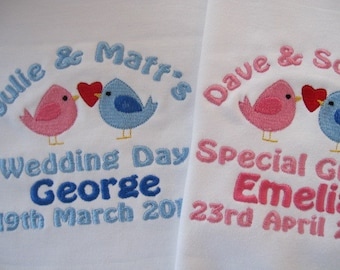Personalised Baby Bib - Embroidered - Wedding - Love Birds - Gift/Favour - Your Wedding Colours