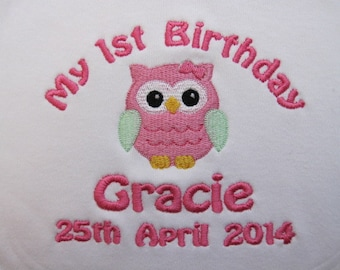 Personalised Baby Bib - Baby's 1st Birthday - Embroidered - Cute Owl - Gift