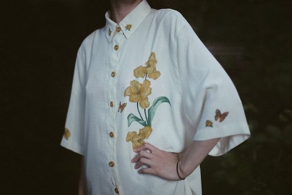 Shirt With Floral Pattern. Floral Shirt. White Shi