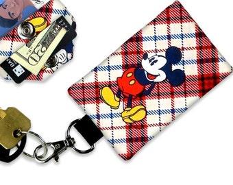 Disney Mickey Mouse ID Wallet, Mini Wallet, Lanyard ID Holder, Luggage Tag, Vacation ID Wallet