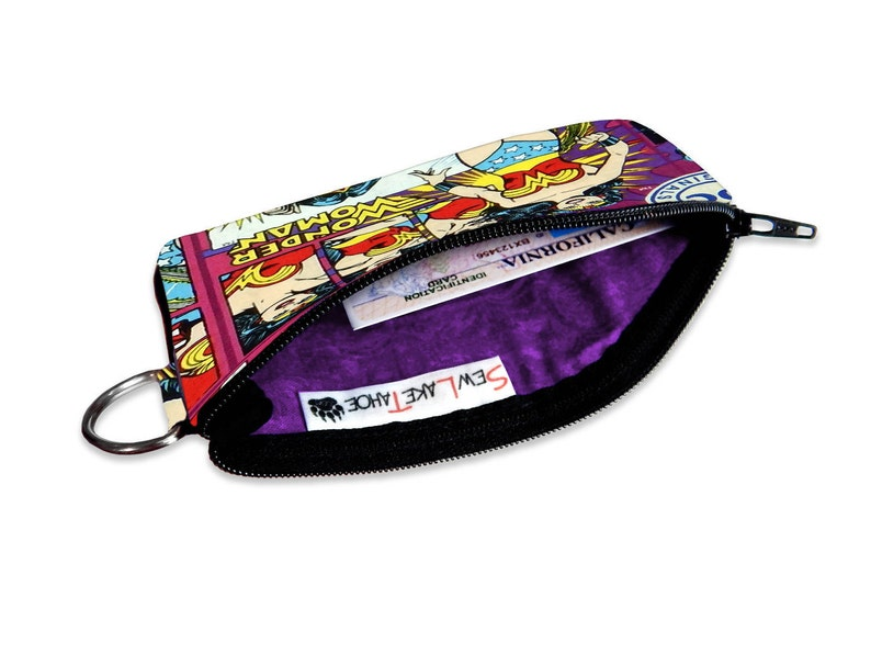 Vacation ID Wallet Bag Accessory DC Comics Wonder Woman Coin Pouch Small ID Wallet Zipper Wallet