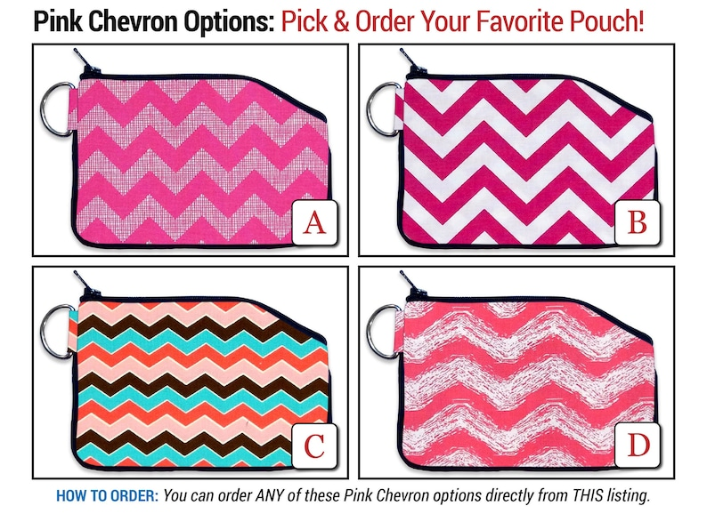 Pink Chevron Small Wallet  Zipper Wallet Coin Pouch Purse Accessory Card Holder Minimalist Coin Purse Chevron Wallet ID Wallet Kid Wallet