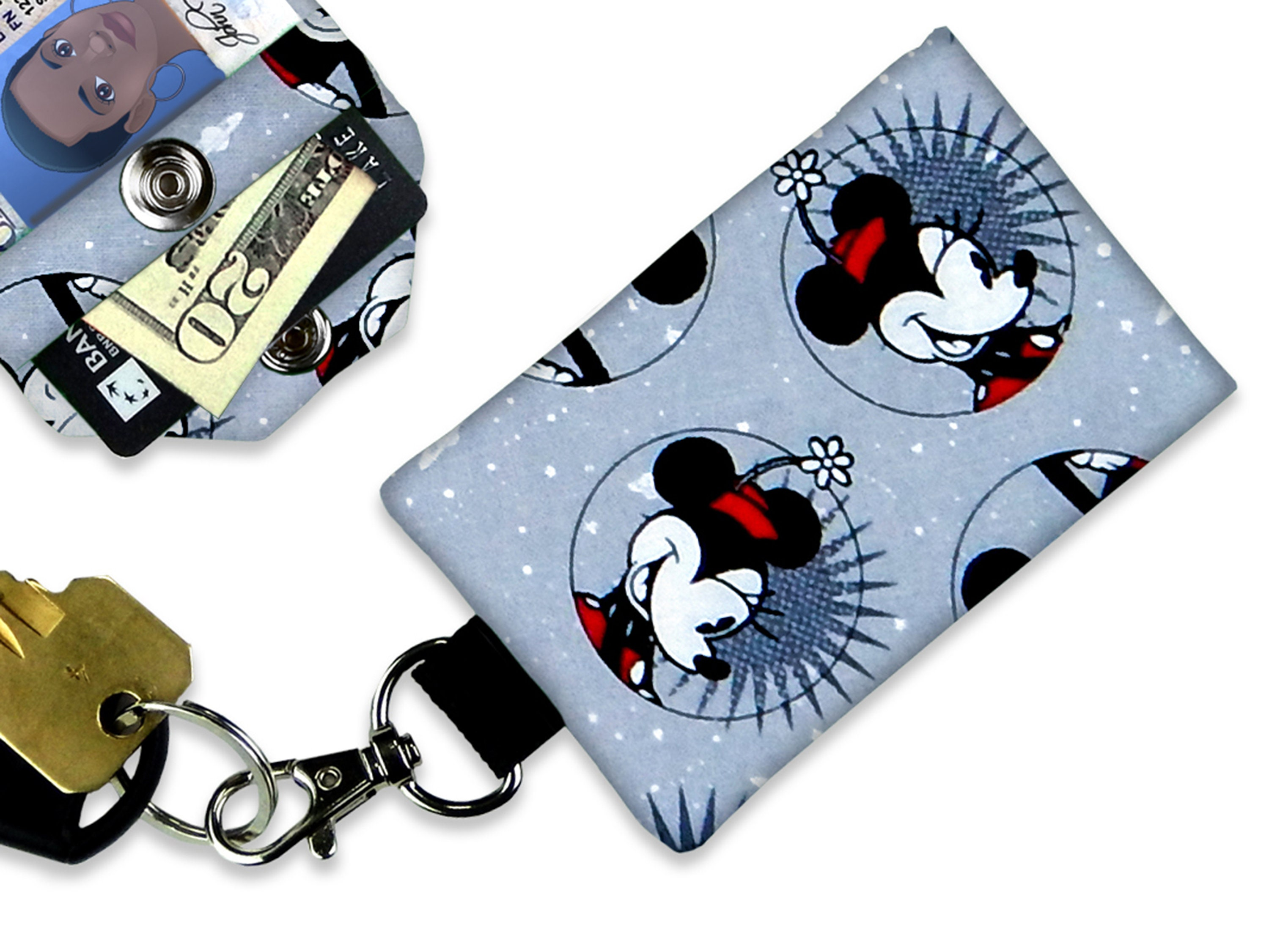 Disney  sparkly lanyards ID holders Mickey Mouse