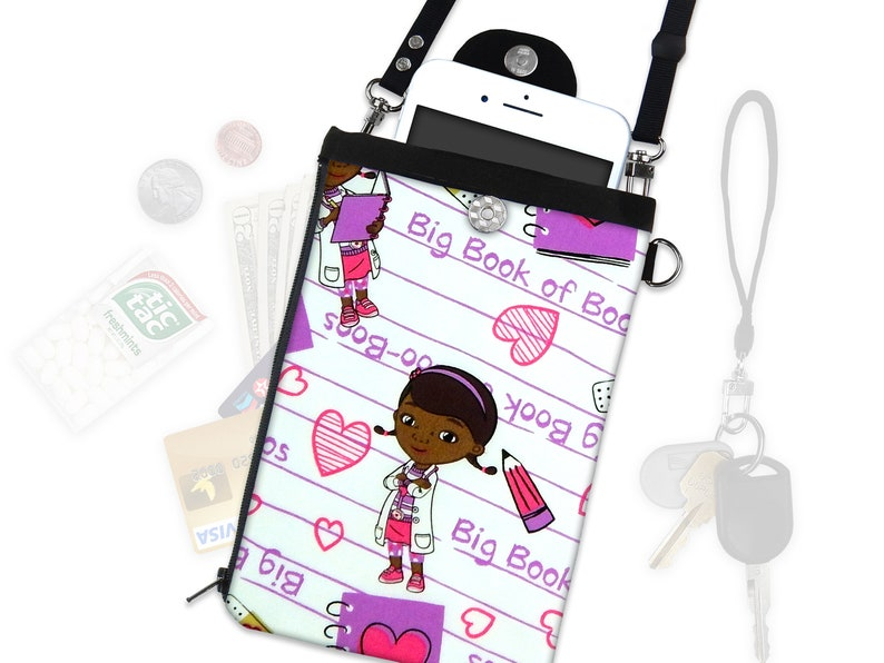 best loved 57b70 714e8 Disney Doc. McStuffins Crossbody Bag Phone Case ID Wallet Vacation Wallet  Purse Strap Wristlet iPhone Samsung