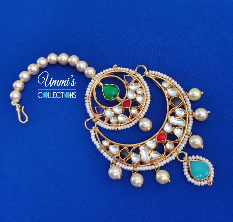 Indian bollywood Multi Color Pearl made Maang Tikka /& Earrings Set Indian ForeHead Jewelry