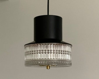 Danish mid-century black lacquered copper and pressed clear glass pendant. Scandinavian vintage lighting.