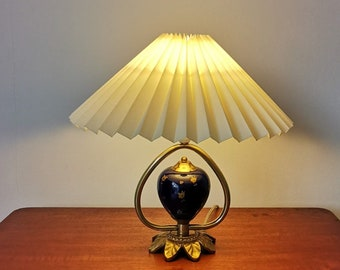 Mid-century Danish, brass table lamp, blue ceramic body with painted gold floral motif, solid brass leaf shaped base/foot.