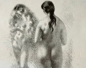 Nudes, black and white signed lithograph by Aage Sikker Hansen. Danish mid-century art.