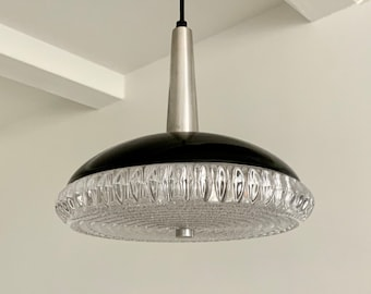 Danish mid-century black lacquered aluminium and pressed clear glass pendant. Scandinavian vintage lighting.