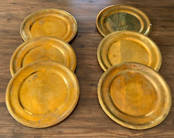 Danish solid brass charger plates. Set of 6. Danish vintage tableware. Brass interiors.