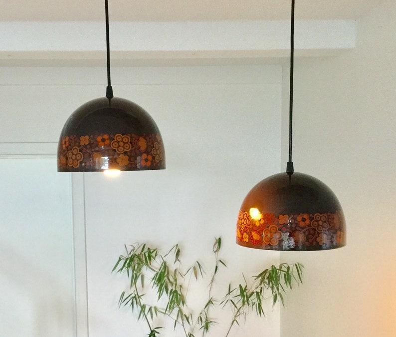 Made in Denmark circa 1970. A pair of Kaj Franck enamel pendant lamps produced by Fog and M\u00f8rup