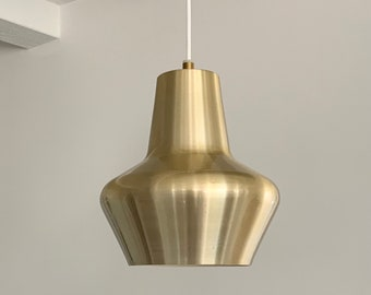 Vintage Danish brass coloured aluminium pendant with white cable. Made by Lyfa, Denmark.