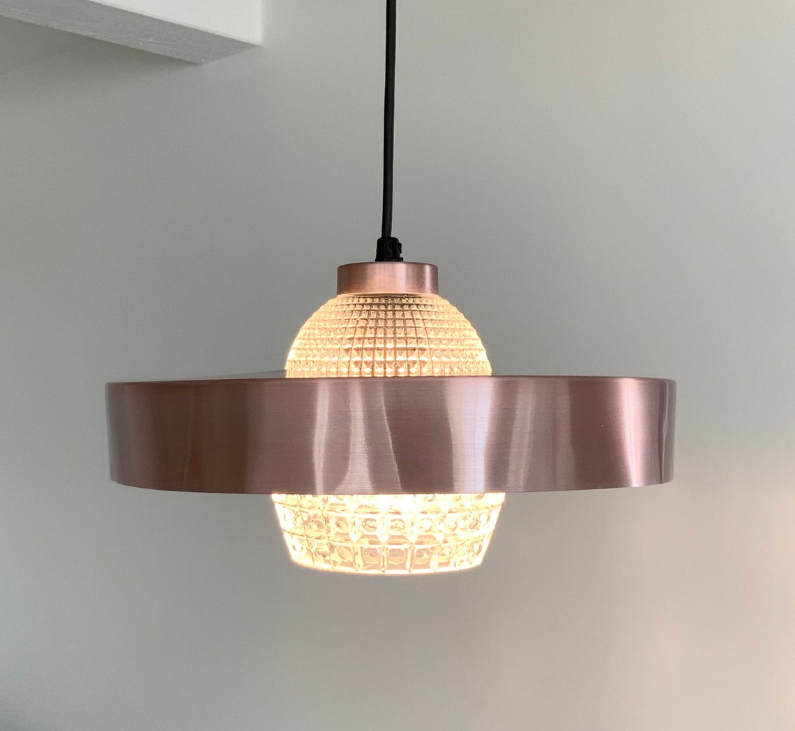 Danish mid-century copper alloy and pressed clear glass pendant. Scandinavian vintage lighting. - Eclairage