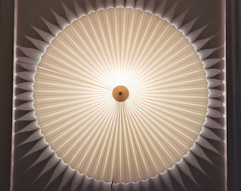 Danish designed, rosette / fan shaped, wall light, with a new natural white chintz knife pleated lampshade
