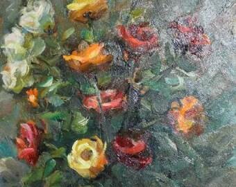 1987 European Impresisonist art oil painting still life signed