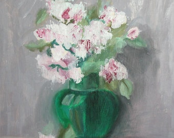 Impressionist oil painting still life with flowers