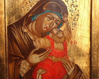 Hand Painted Tempera/Wood Orthodox Icon Christ Child and Virgin Mary