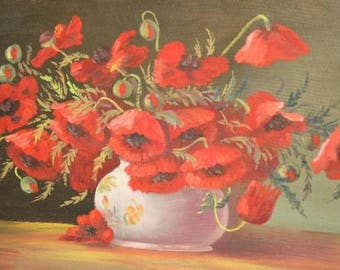 European art 1940's oil painting still life
