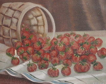 Antique oil painting still life strawberries signed