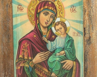 Orthodox hand painted icon Virgin Mary And Jesus Christ child