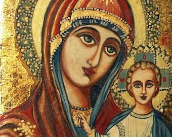 Vintage Orthodox Icon Painting Mary Jesus Christ Child