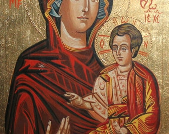 Hand Painted Tempera/Wood Orthodox Icon Christ Child Virgin Mary