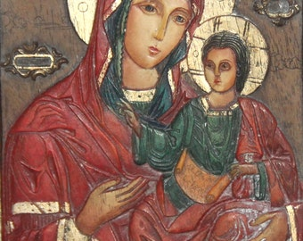 Orthodox hand made icon Virgin Mary And Jesus Christ child
