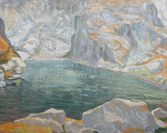 Vintage mountain lake landscape oil painting signed