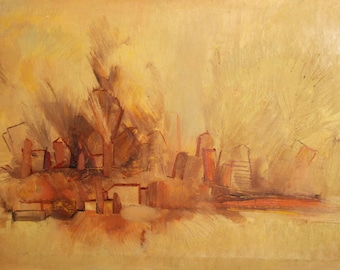 Vintage European oil painting abstract landscape