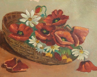 Antique oil painting still life flowers in basket