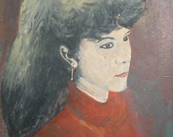 Vintage portrait oil painting woman
