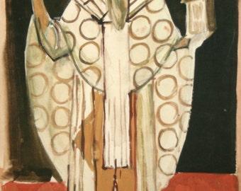 Vintage European Religious Icon oil painting