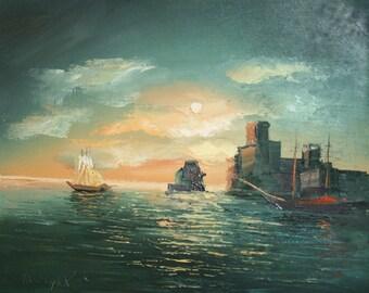 Bulgarian impressionism seacape marine painting signed