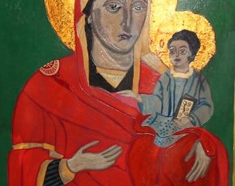 Hand Painted Tempera/Wood Orthodox Icon Christ Child & Virgin Mary